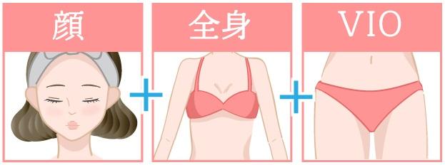 顔+全身+VIO